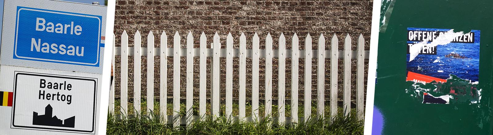 Collage: Ortschild Baarle, Zaun, zerrissener Aufkleber
