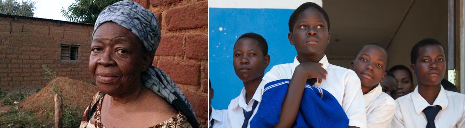 DPA: Schülerinnen einer Schule in Tansania. Daneben im Bild Calista Simbakalia