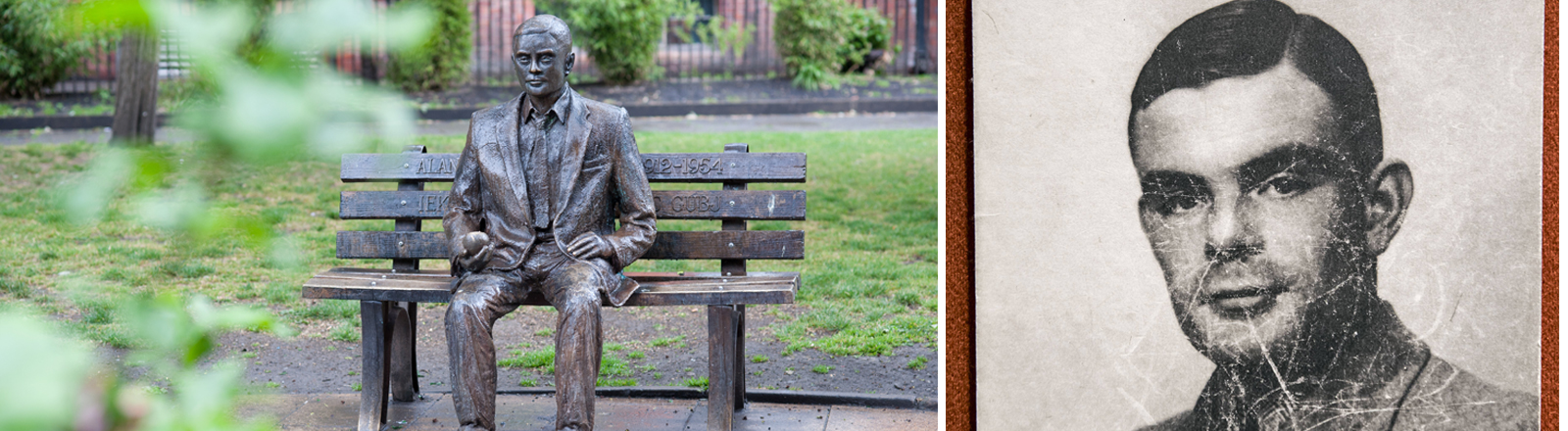 Alan-Turing-Denkmal in Manchester und sein Bild als Student in Cambridge