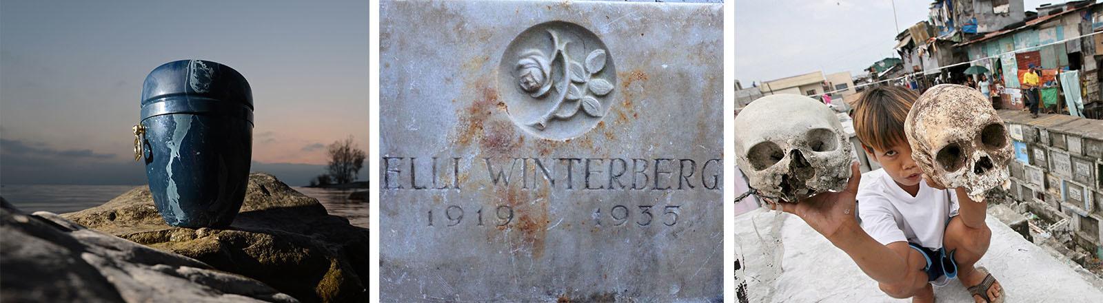 Eine Urne, der Grabstein von Elli Winterberg, ein Junge mit zwei Totenschädeln auf einem Friedhof in Manila