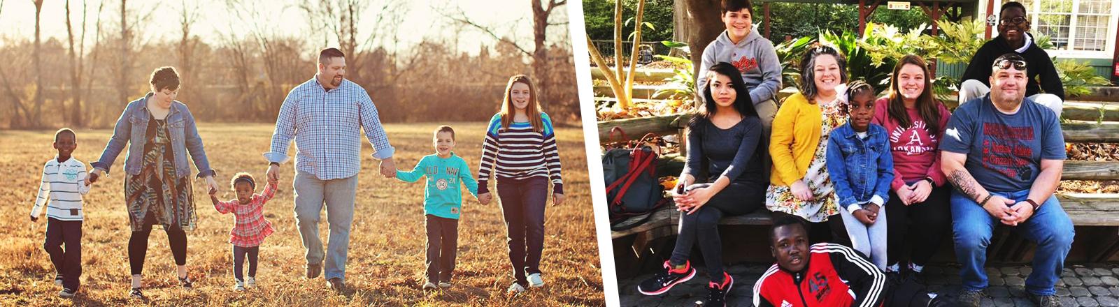 Collage: Familie Dooly früher und heute