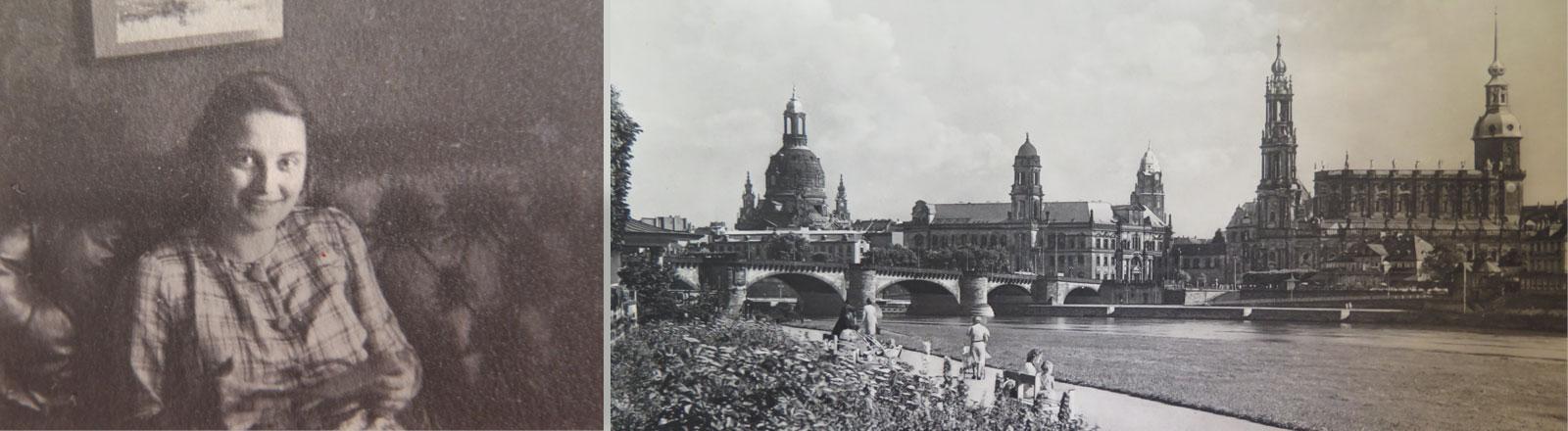 Ursula Rosch auf einer Couch, rechts daneben das Stadtpanorama von Dresden.
