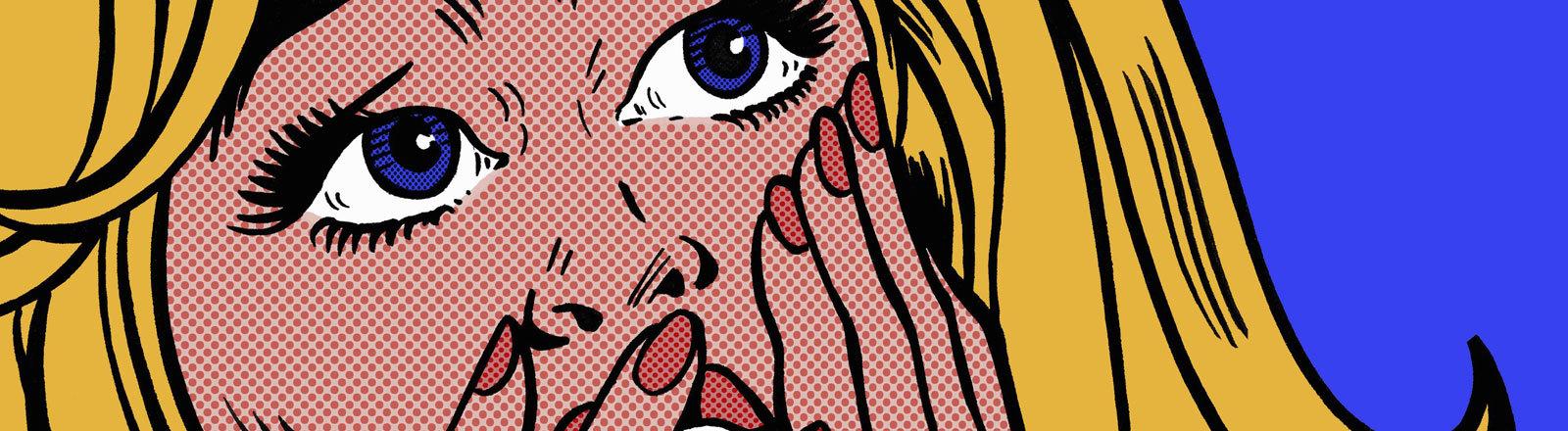 Frau schlägt vor Schreck Hände vor dem Mund zusammen.