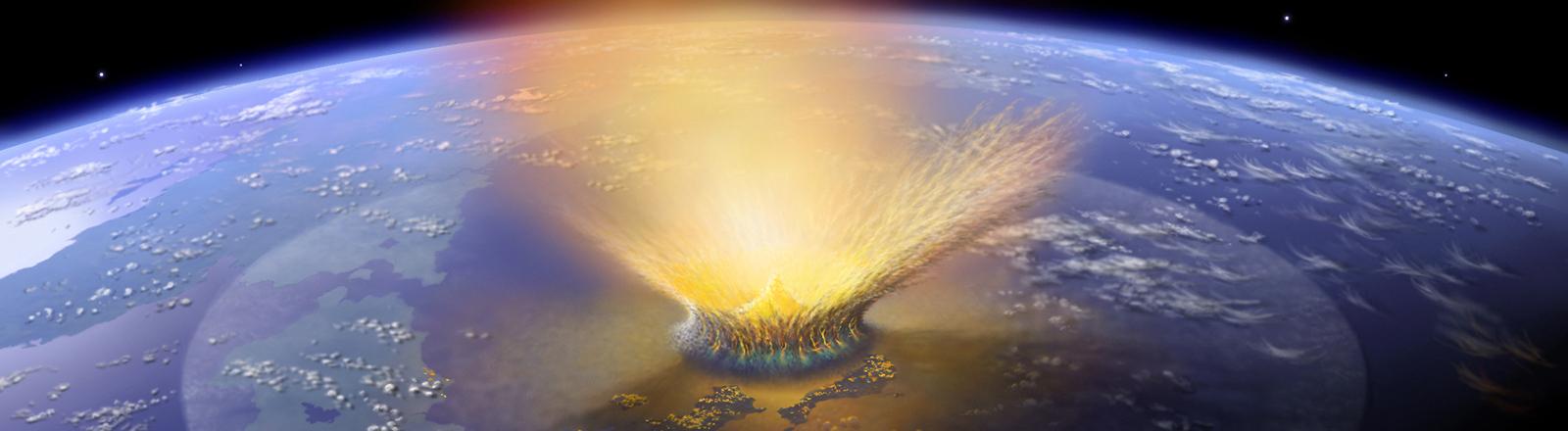 Die undatierte Illustration zeigt den katastrophalen Asteroideneinschlag auf der Erde, der vor 65 Millionen Jahren die Dinosaurier ausgerottet haben soll.