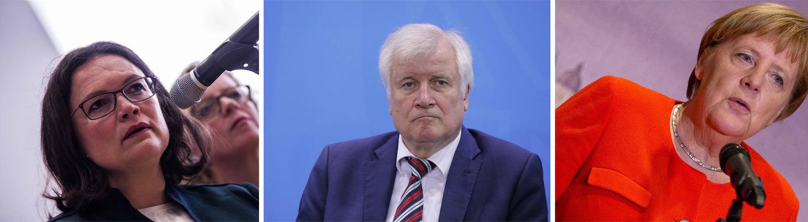 SPD-Vorsitzende Andrea Nahles, Bundesinnenminister Horst Seehofer (CSU), Bundeskanzlerin Angela Merkel (CDU)