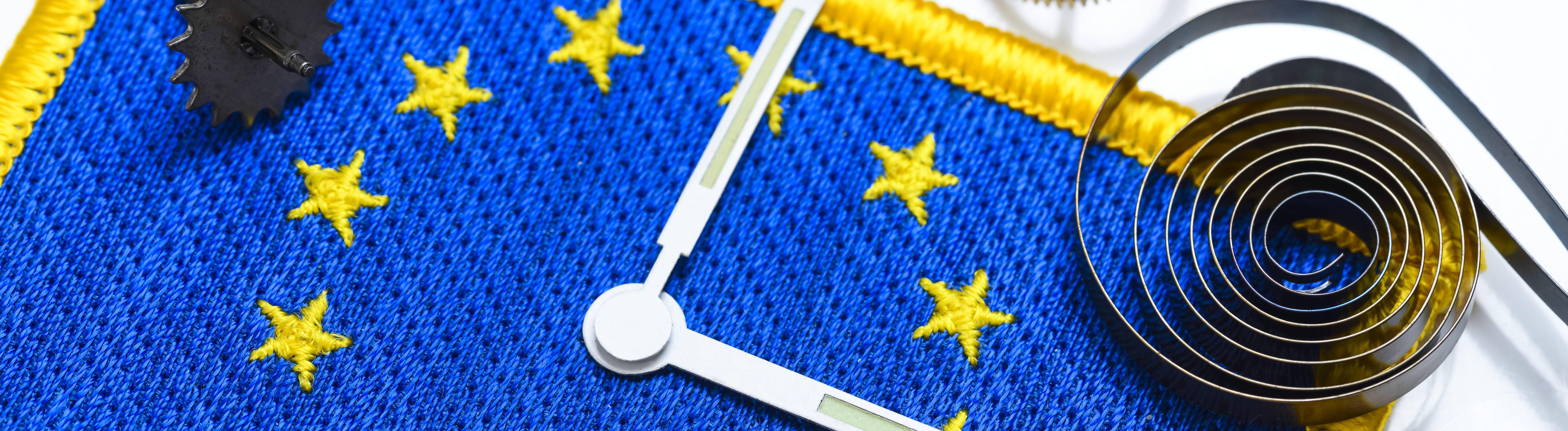 Uhrzeiger auf EU-Fahne, Abschaffung der Zeitumstellung