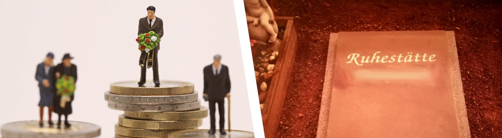 Symboldbild-Collage: Tauerende Menschen und Grabstein
