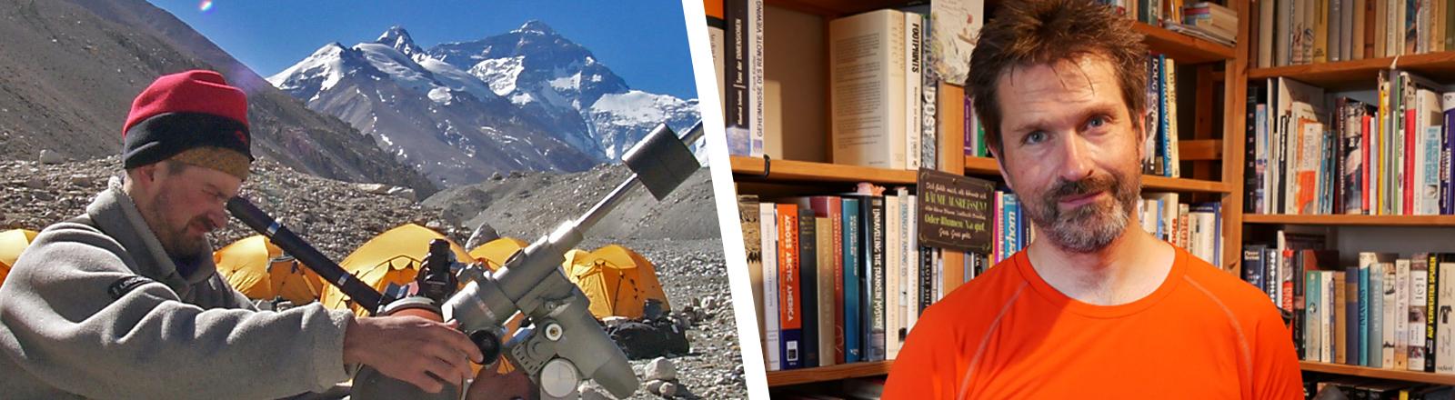 Collage von Mann auf Berg und zuhause