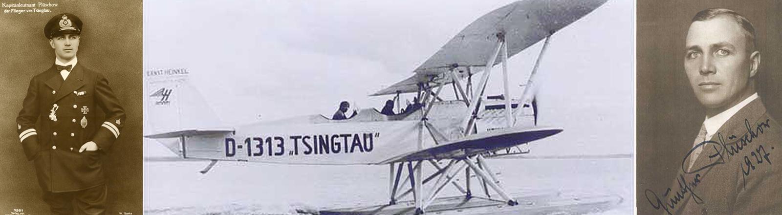 Aufnahmen von Gunther Plüschow und seinem Flieger