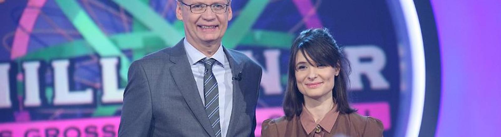 """Günther Jauch und Rebekka Endler bei """"Wer wird Millionär"""""""