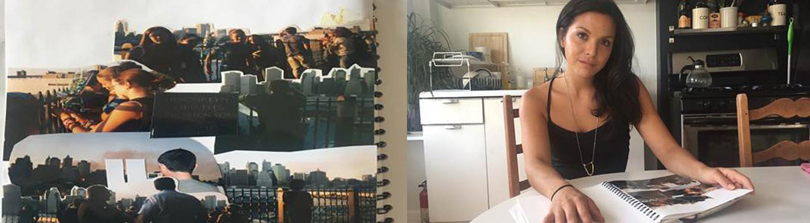 Rivca in ihrer Küche mit einem Album, das sie nach den Terroranschlägen gebastelt hatte.