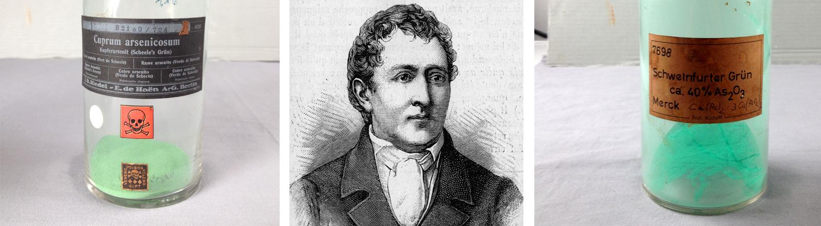 Ein Stich auf dem Carl Wilhelm Scheele zu sehen ist. Zwei Glasflaschen, die Grünpigmente enthalten. Auf der einen Flasche klebt ein Totenkopf.