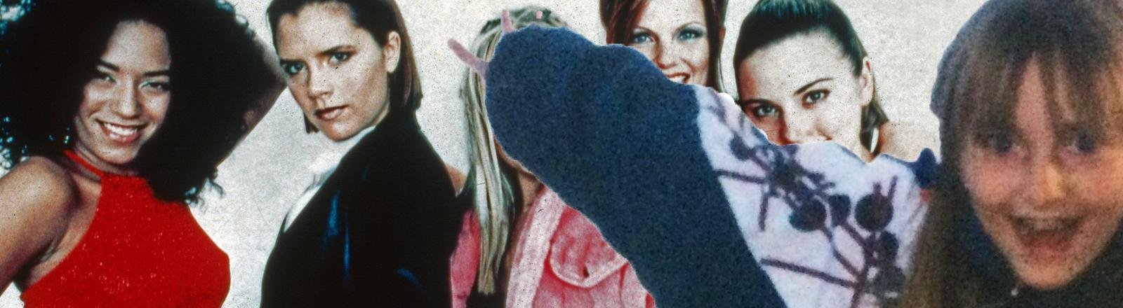 Eine Collage aus einem alten Foto der Spice Girls und einem Kinderfoto von Wlada Kolosowa