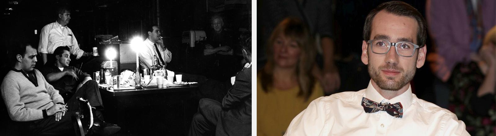 Eine schwarz-weiß Aufnahme von Menschen an einem Tisch mit Getränken und Kerzen. Porträt von Max Rinneberg in einer Fernsehtalkshow.