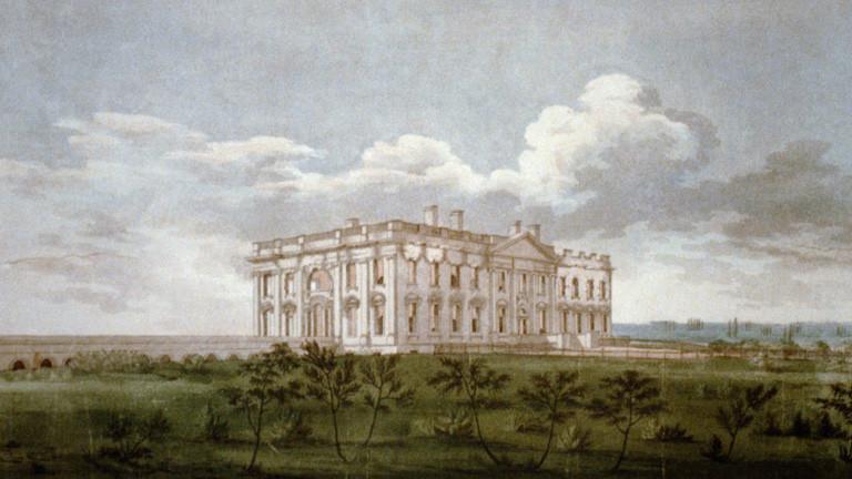 Ein Kupferstich von William Strickland (1787-1854) zeigt das Weisse Haus in Washington nach der Feuersbrunst am 24. August 1814. Der Stich befindet sich im Besitz der Library of Congress.