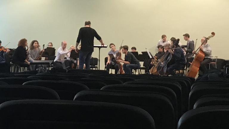 Orchesterprobe im Konzerthaus in Rezekne.