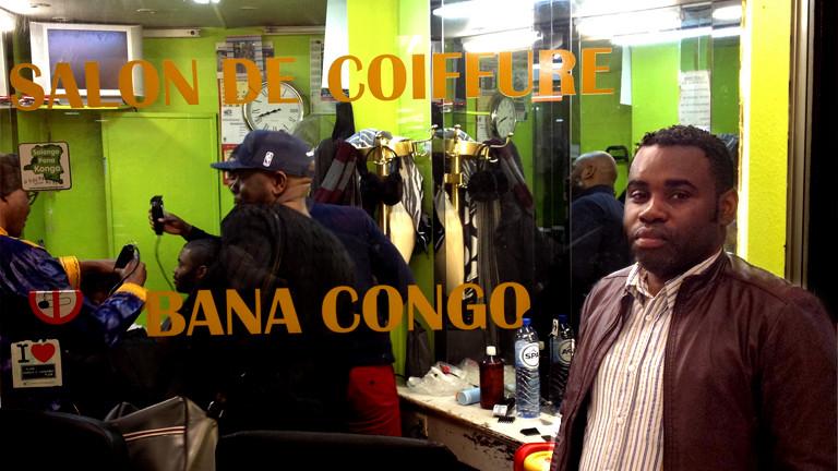 Aubin Kinkonka vor seinem Friseursalon Bana Kongo