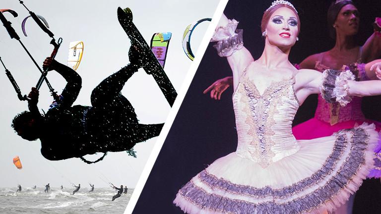 Collage: Chase Johnsey ist Ballerina, eine Kitesurferin