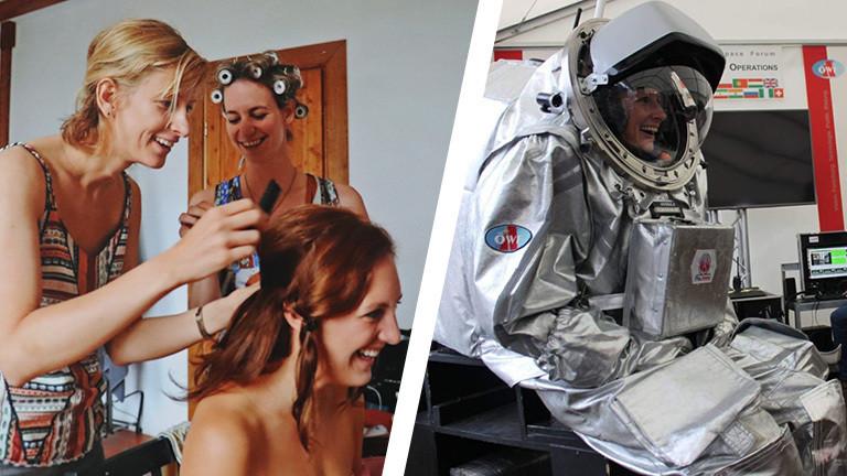 Collage von Carmen als Stylistin und als Astronautin