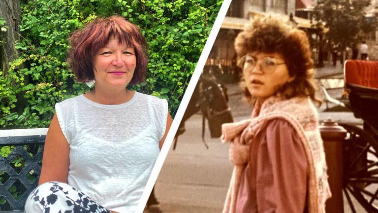Collage aus zwei Fotos. Eine ältere Frau auf einer Bank und dieselbe Frau in jungen Jahren bei einem Aufenthalt in Montreal.