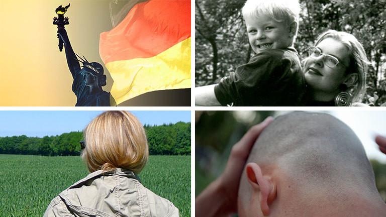 Collage: Freiheitsstatue, Deutschlandflagge, Frau mit Kind, Frau von hinten, Schädel