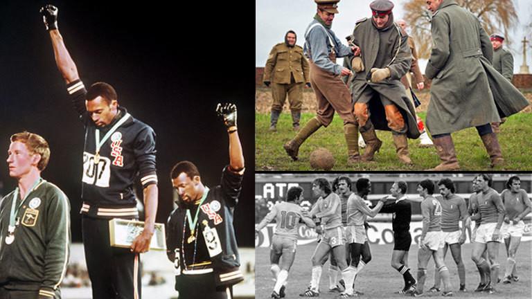 Drei Sprinter bei der Siegerehrung der olympischen Spiele, nachgestelltes Fußballspiel im Weltkrieg 1914, der Schiedsrichter Abraham Klein bei einem Fußballspiel