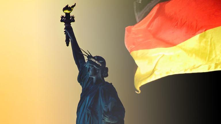 Collage: Freiheitsstatue, Deutsche Flagge