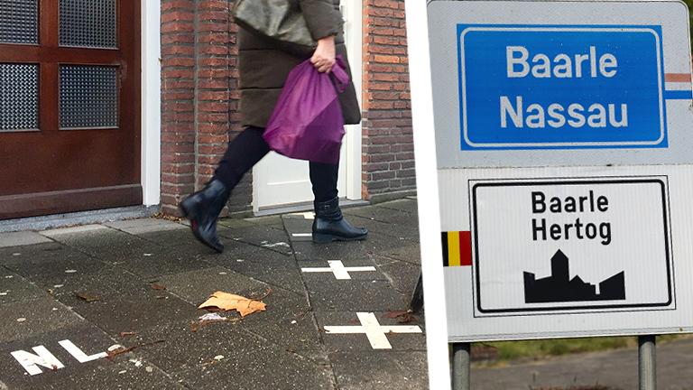 Colalge: Frau geht über Grnezmarkierung, Ortschild Baarle