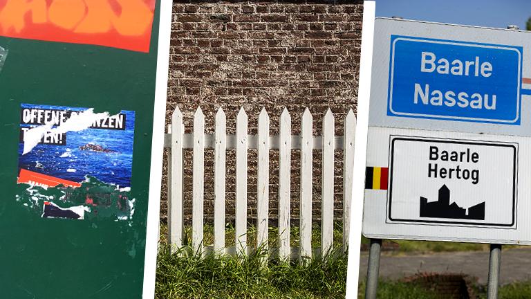 Collage: Aufkleber, Zaun, Ortsschild Baarle