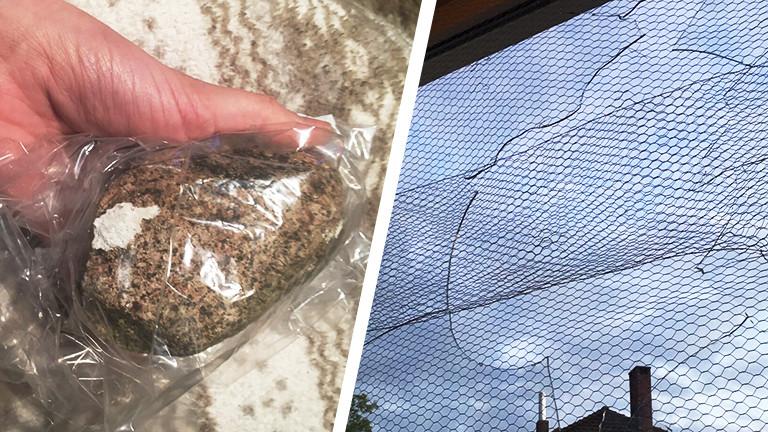 Collage eines Steins und eines kaputten Fensters