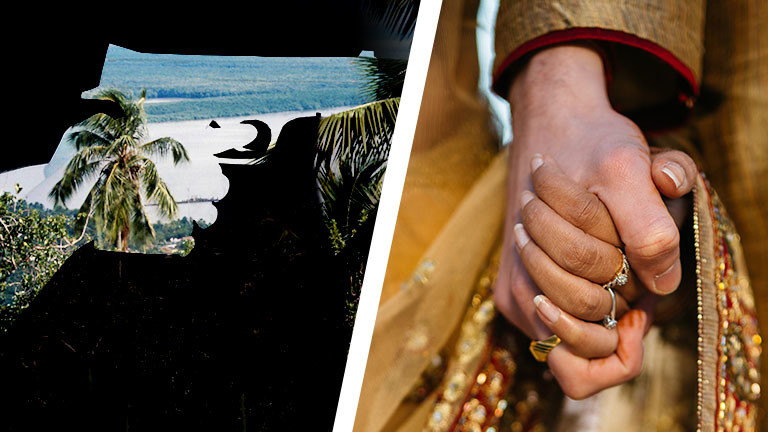 Collage: Umriss Waffe und Landschaft, Pärchen hält Händchen