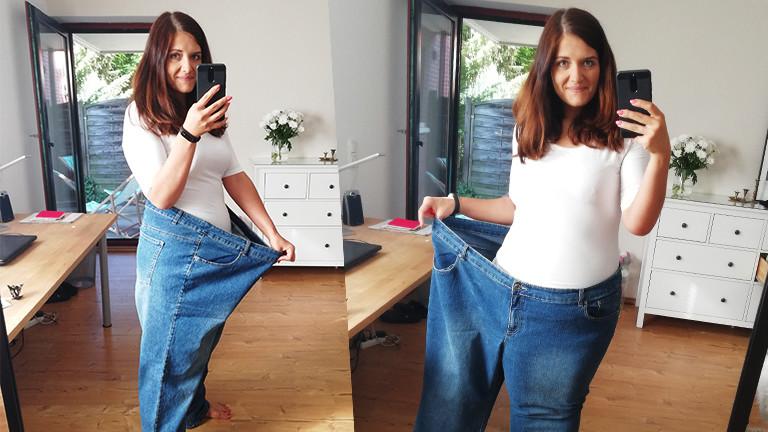Anna mit einer Hose, in die sie heute zweimal passt.
