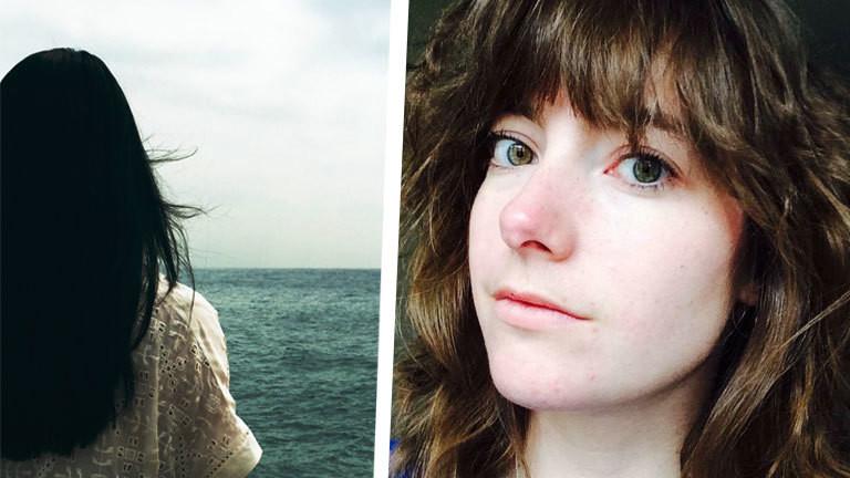Eine Frau vor dem Meer und Porträt von Lisa Dupuy