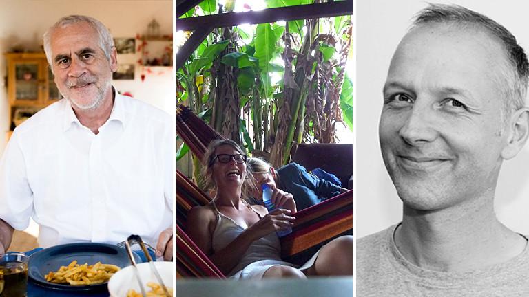 Drei Fotos: Ein Mann beim Essen, zwei Frauen in der Hängematte, ein lächelnder Mann