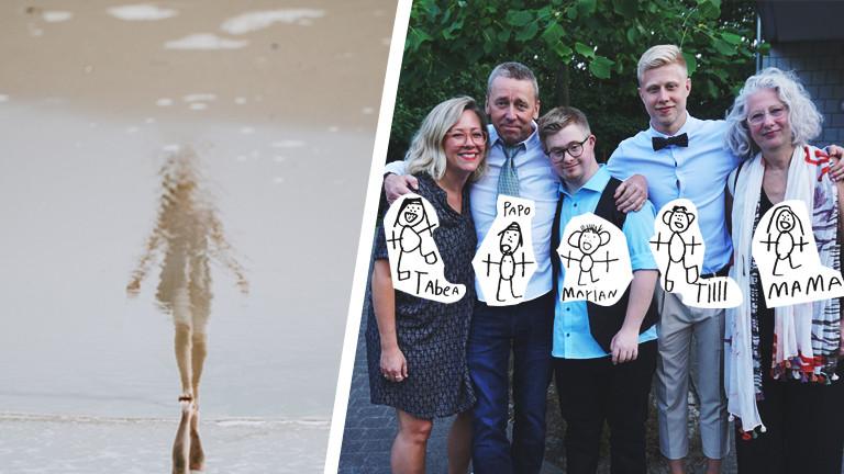 Eine Frau, die mit ihrem Spiegelbild im Wasser verschwindet und Familie Mewes