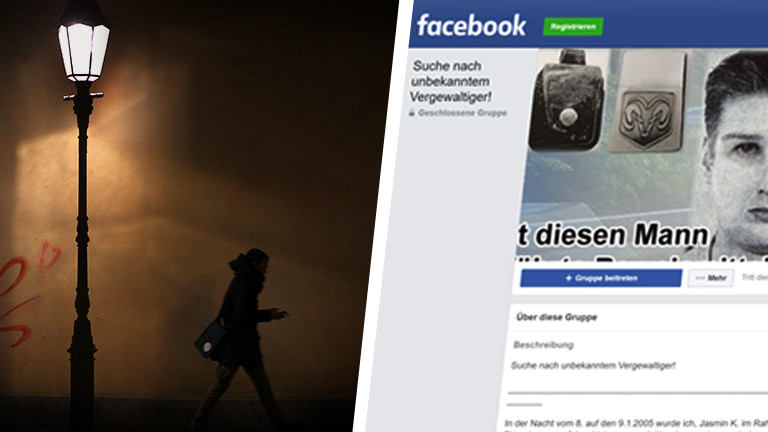 Collage einer Person im Dunkeln und eines Screenshots der Facebook-Gruppe