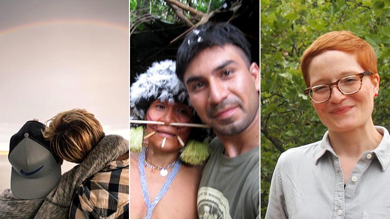 Collage verschiedener Fotos: Mütter und ihre Söhne, eine Frau.