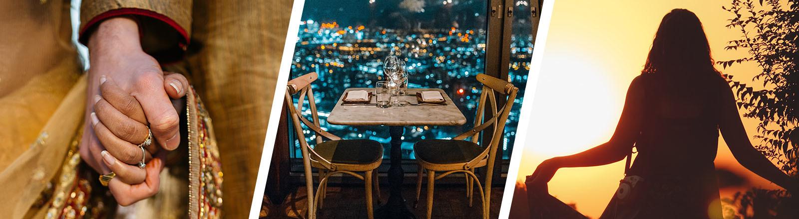 Collage: Paar halt Händchen, leerer Tisch, Frau tanzt im Sonnenuntergang
