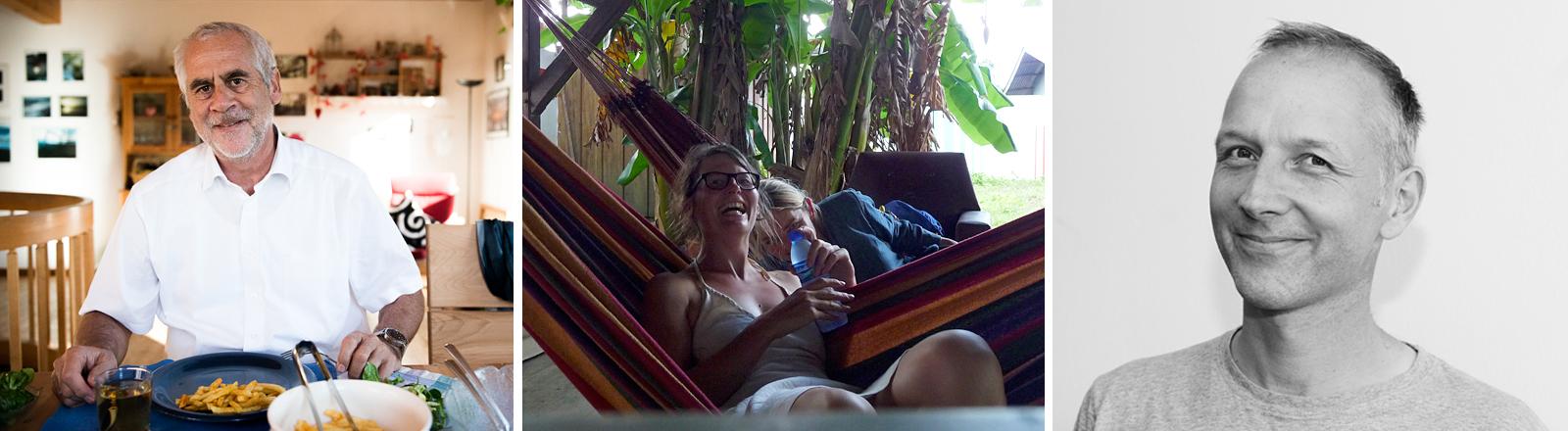 Drei Fotos: Ein Mann beim Essen, zwei Frauen in der Hängematte, ein lächelnder Mann.