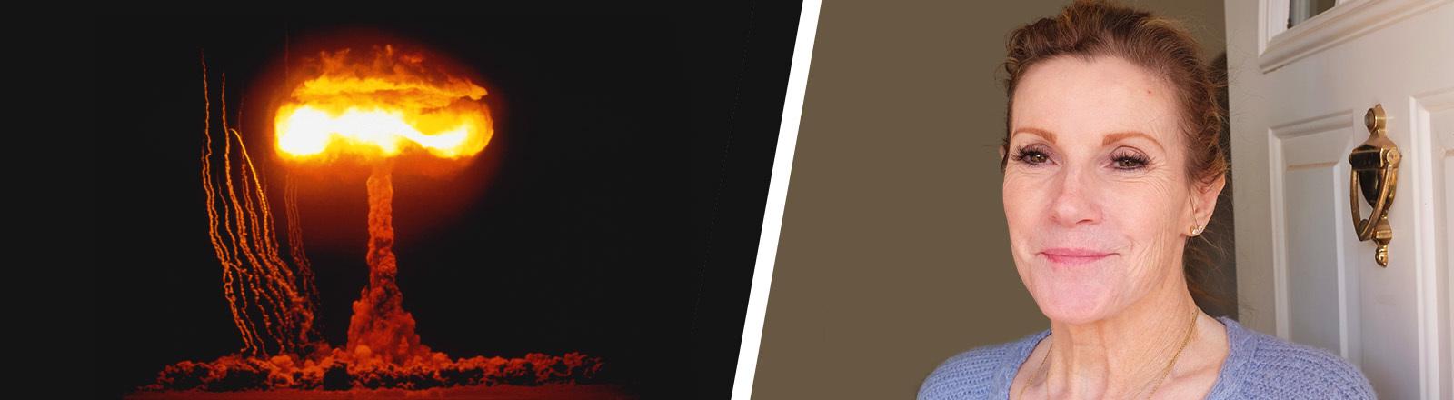 Collage von Atomtest und Porträt Claudia Peterson