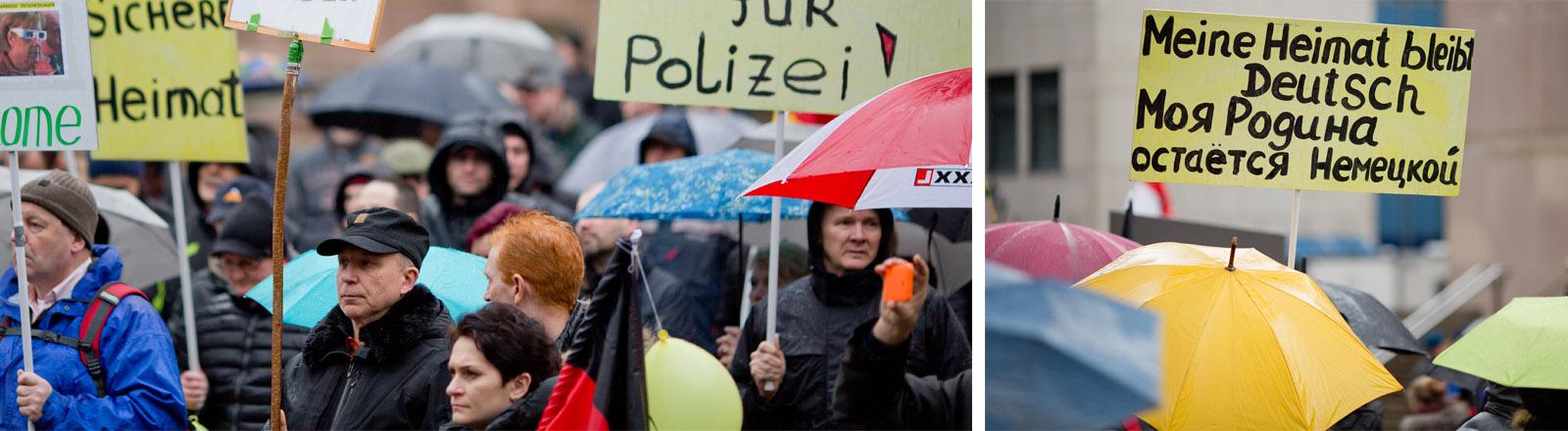 Russlanddeutsche auf einer Demo in Nürnberg.