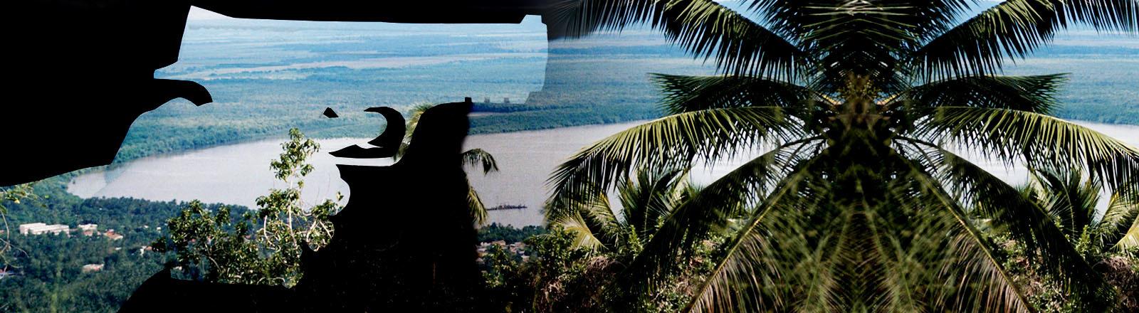 Collage aus Umriss Hand mit Waffe und Landschaft Dominikanische Republik