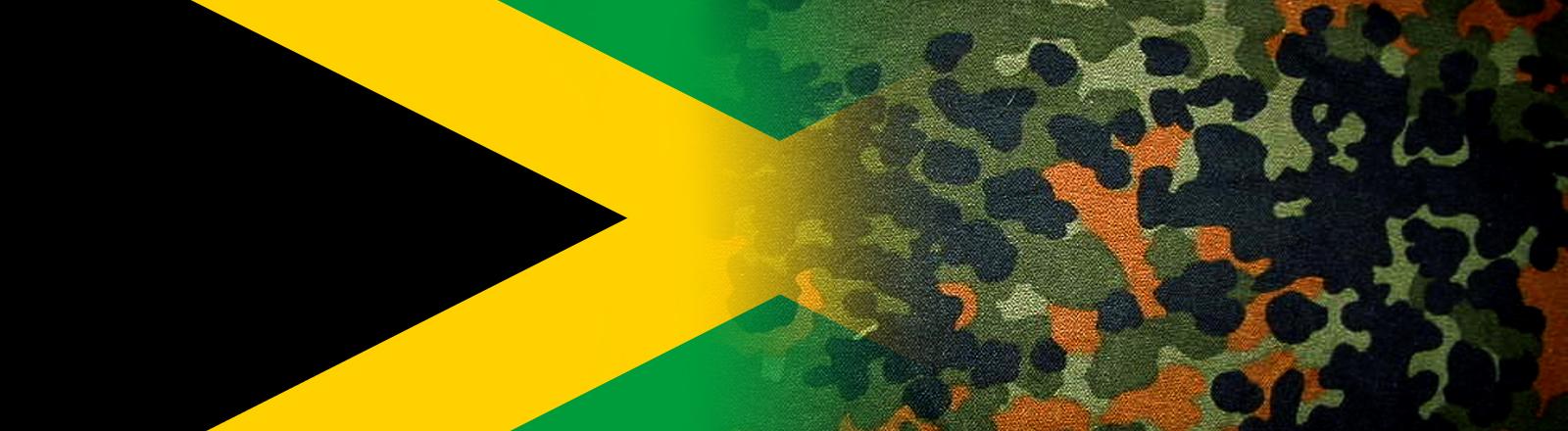 Eine Jamaika Flagge, darüber ein Flecktarn-Stoff