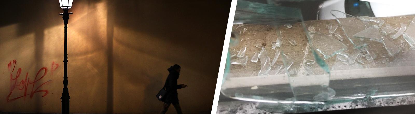 Collage eines Symbolbilds eines Menschen im Dunkeln auf der Straße und einer zerbrochenen Schreibe