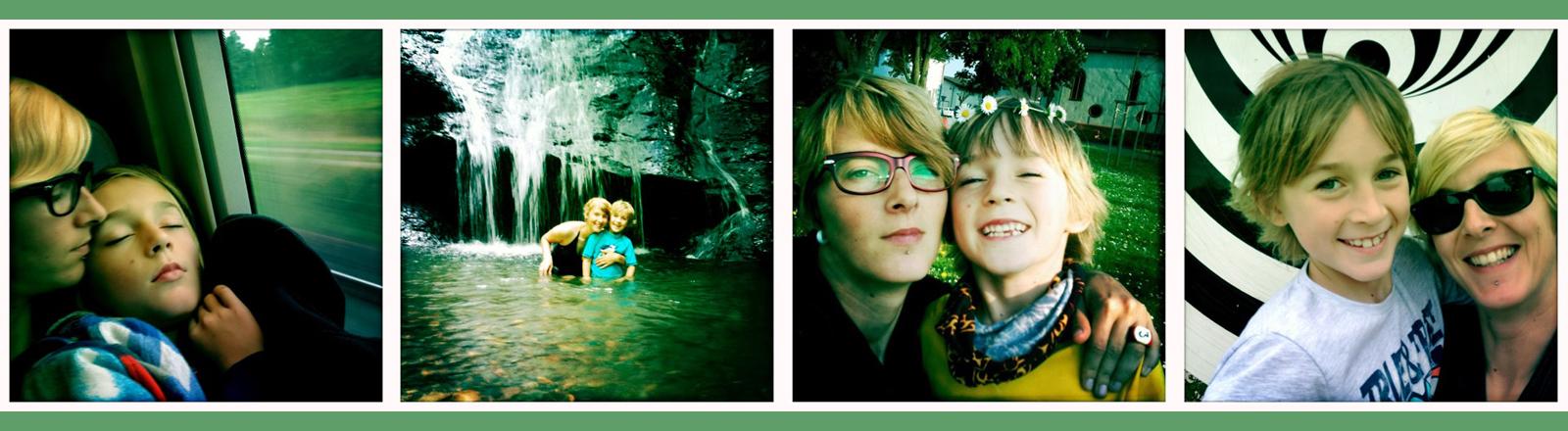 Viele Fotos von einer Mutter mit ihrem Sohn.