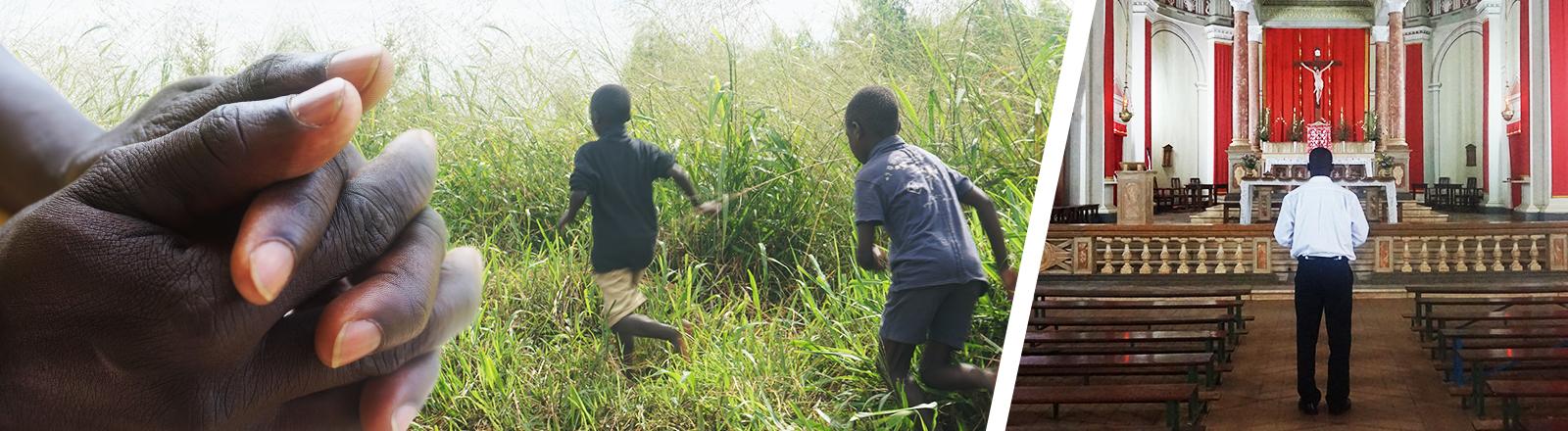 Collage von betenden Händen, rennenden Kindern und Okot in Kirche