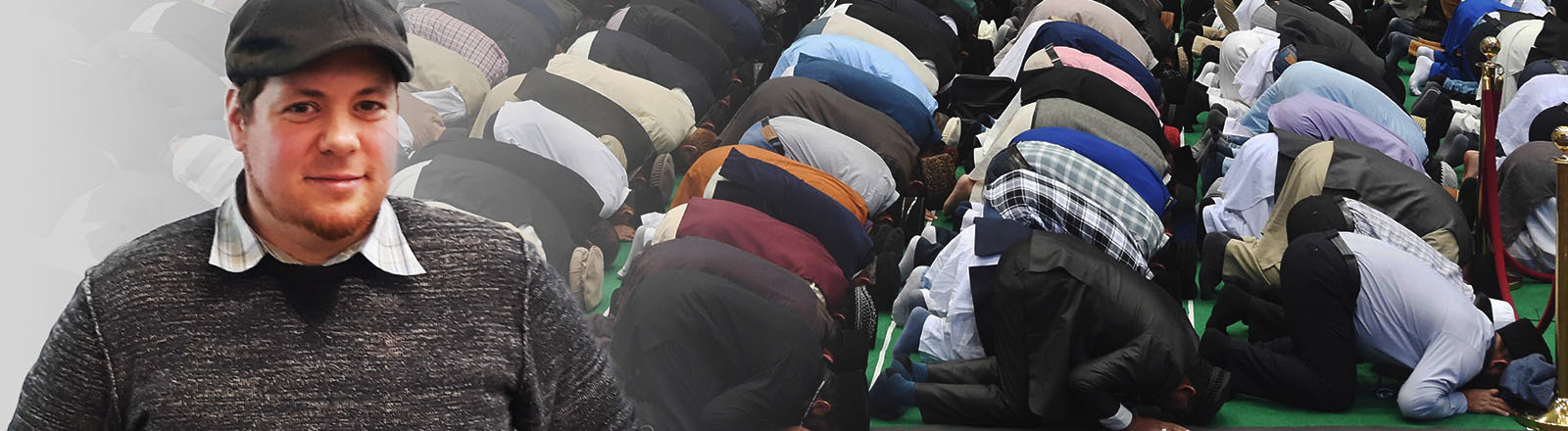 Collage: Porträt Volker Ahmad Qasir | Betende Muslime