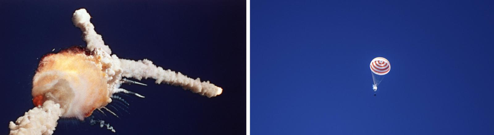 Die Explosion des Space Shuttle Challenger im Januar 1986 und die sichere Rückkehr der Sojus MS-15 Expedition 62 im April 2020