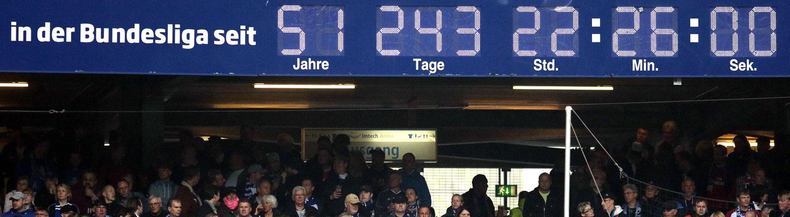 Die Stadionuhr des HSV.