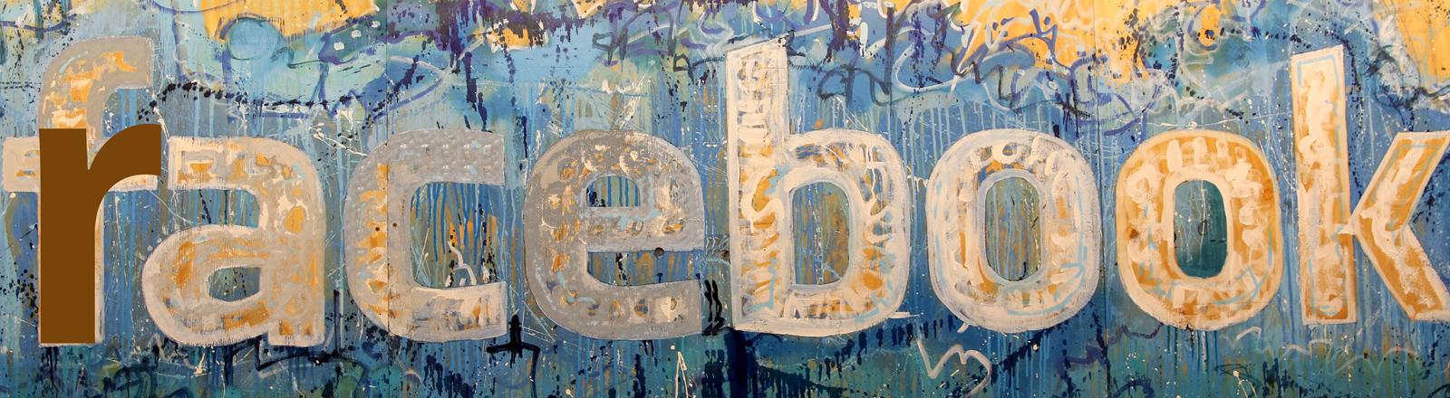 gemaltes Facebook-Logo mit integriertem R